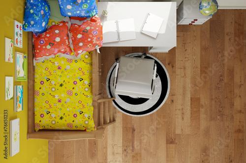 kinderzimmer mit bett von oben stockfotos und lizenzfreie bilder auf bild 76650233. Black Bedroom Furniture Sets. Home Design Ideas