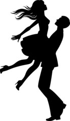Silhouette of couple in love