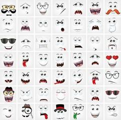 Набор 49 мультфильма лица с различных эмоций