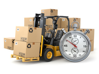 Wall Mural - Forklift truck with  boxes and stopwatch .Express delivery conce