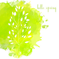 Green watercolor vector spring background