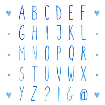 English watercolor alphabet with tall letters.