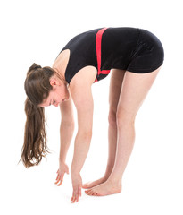 Stretching fitness woman touching the floor with her fingers