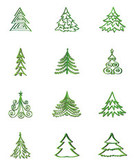 Christmas Icon set. Winter Objects Collection. Happy New Year tree vector collection.