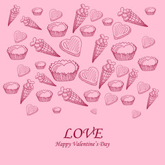Card with sweet-stuff  on the Day of St. Valentine