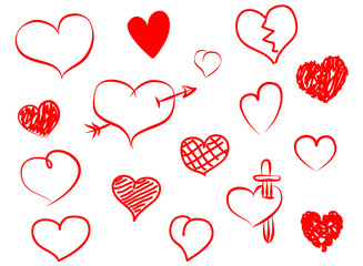 Set de corazones dibujados a mano. Corazones en papel