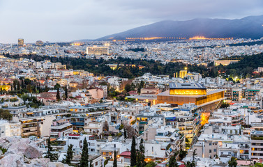 Foto auf AluDibond Athen View of Athens in the evening - Greece