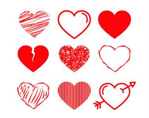 Set de corazones en vector. Icono dibujado a mano