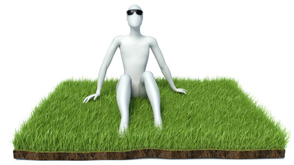 happy man on grass. Isolated 3D image