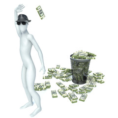 Packs of dollar in the garbage can. 3d man