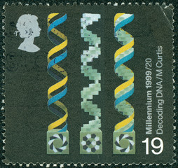 stamp printed in United Kingdom shows Decoding DNA