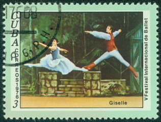 "stamp printed in Cuba shows a scene from the ballet ""Giselle"""