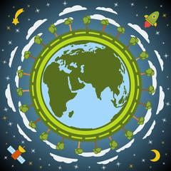 Earth planet globe. Vector.