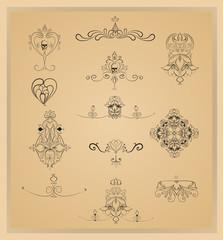 A set of elegant vignettes with decorative flowers