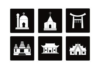 Worship place icon religious logo vector