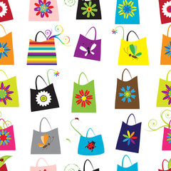 Floral shopping bags, seamless pattern for your design