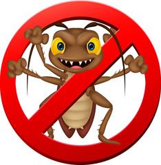 Stop cockroach illustration