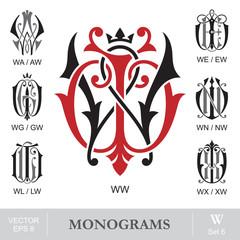 Vintage Monograms WW WA WE WG WN WL WX