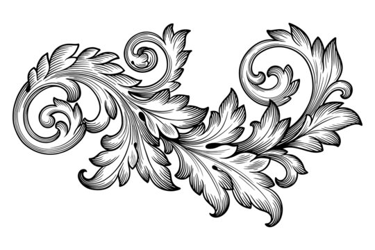 Vintage baroque foliage floral scroll ornament vector