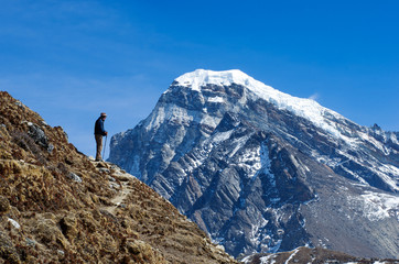 Tourist in mountains.   Nepal, Himalaya