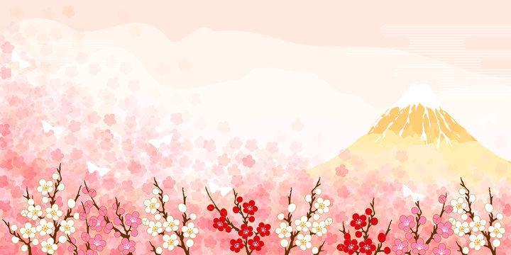 富士山と梅の背景