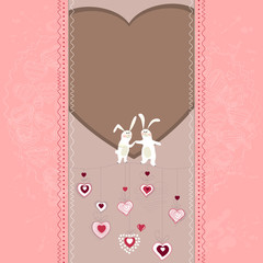 Easter card with hearts and rabbits