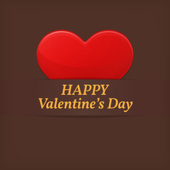 Valentine's day greetings card. Red heart over brown (chocolate)
