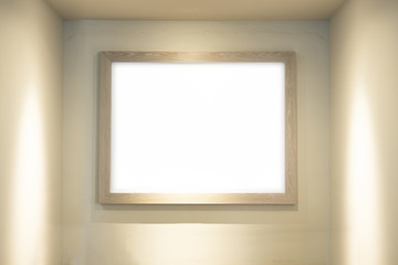 Blank whiteboard with wooden frame in lighting room background