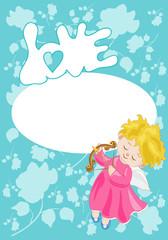 Sfondo San Valentino con Cupido e Spazio per Testo