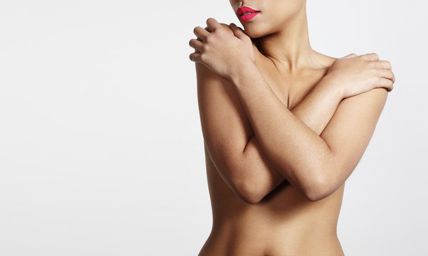 beautiful woman's nude body with ideal skin