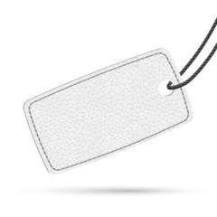 White leather price tag. Raster illustration.