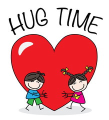 hug time valentines day or other greeting