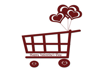 Heart with shopping cart background