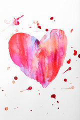 Painted heart shape isolated on white