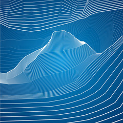 White lines, abstraction composition, mountains, background