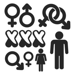 Gender web and mobile icons set. Vector.