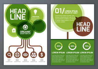 Set of vector nature organic template for brochure, flyer, poste