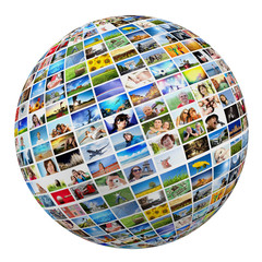 Globe, ball with various pictures of people, nature, places