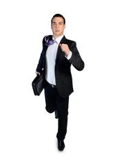 Business man running away