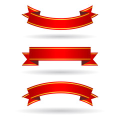 Red ribbon banners set