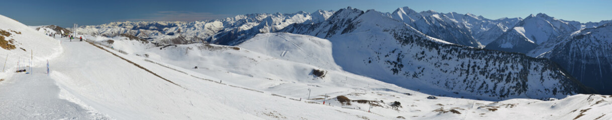 Panorama of Hautes Pyrenees from tops of Saint Larry Soulan Ski