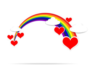Happy Valentine day heart cloud and rainbow 001