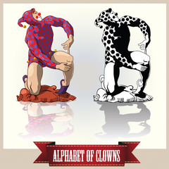 Vector clowns in a pose letters of the English alphabet