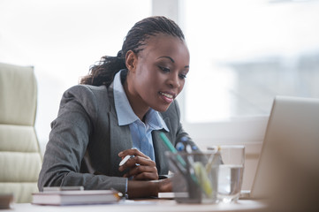 African business woman working