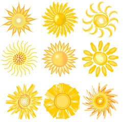 A set of cute sun image in various vector technic