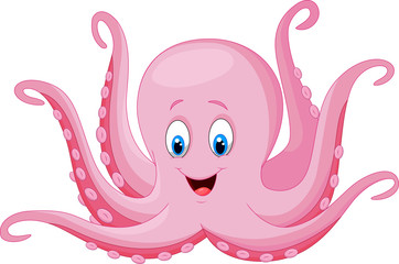 Cartoon happy octopus