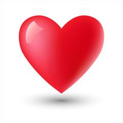 Glossy heart shape on white. Vector