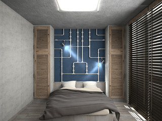 Modern interior of a bedroom 3d rendering