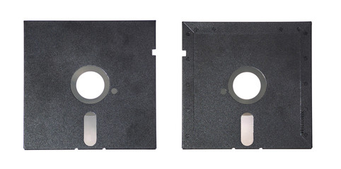 Magnetic floppy disk top view and back view.