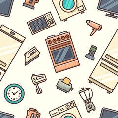 Home appliances seamless pattern. Vector illustration.